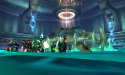 Yogg-Saron kill in 10man Ulduar. My hunter and his wolf to the right